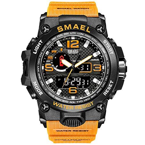 Orologio da uomo, sportivo, impermeabile, digitale, con LED, grande cassa, arancione militare