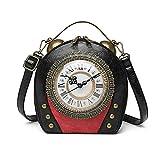 Bolso de Mano con diseño de Reloj Antiguo para Mujer Bolso de Hombro Cruzado de Noche para Mujer, Bolso de Mensajero Vintage, Hombro de Cadena de Monedero Estilo Steampunk (Black)