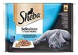 Sheba Selezione Multipack Bolsitas de Comida Húmeda en Salsa para Gatos Selección Pescados, 4 x 85g