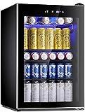 Antarctic Star Beverage Refrigerator Cooler-120 Can Mini Fridge Glass Door for Soda Beer Wine Stainless Steel Glass Door Small Drink Dispenser Machine Digital Display for Home, Office Bar,4.4cu.ft