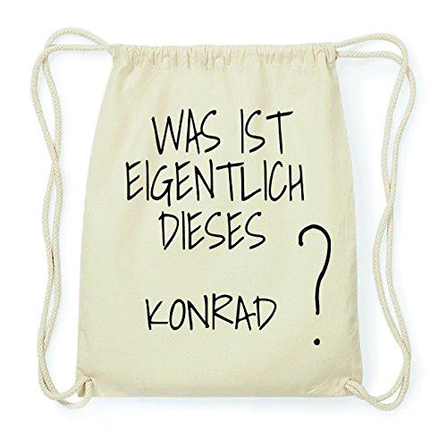 JOllify Konrad Hipster Turnbeutel Tasche Rucksack aus Baumwolle - Farbe: Natur – Design: was ist eigentlich - Farbe: Natur