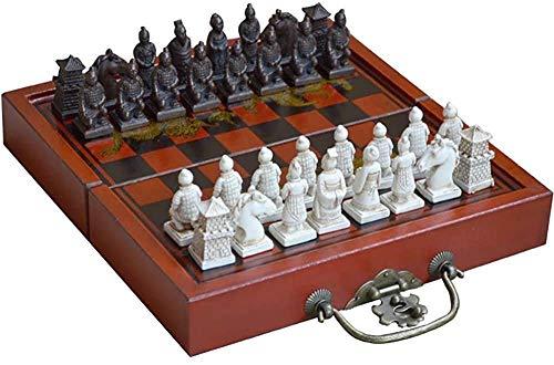 Juego de ajedrez, ajedrez Staunton, Regalo para niños con estimula tu Cerebro, ejercita tu Mente, Tablero de ajedrez de Madera con Piezas de ajedrez de Resina, portátil, portátil, portátil, para ADU