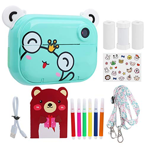 2.4 Inch Children Print Camera, Front and Rear Dual Camera12MP HD Children Digital Camera with Thermal Paper and Self‑Adhesive Photo Paper, Best Birthday Christmas Kids Gifts - Green Frog(Frog)