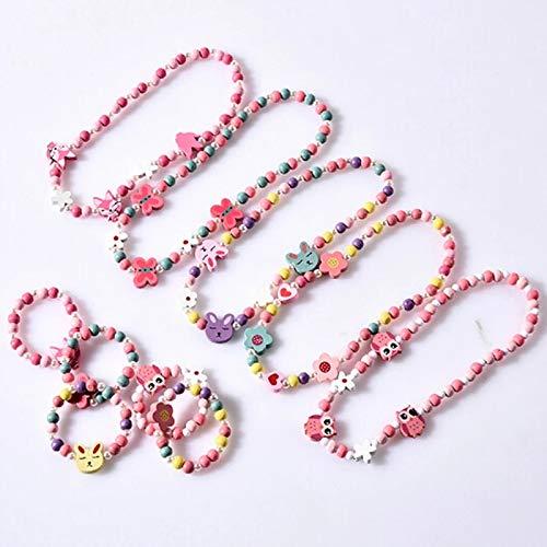Yulakes Juego de 5 joyas de madera para niños, con dibujo de caricatura, collar, pulsera, pulsera, pulsera, regalo para niños, fiesta de cumpleaños