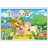 Princess and Unicorn Disposable Placemats for Kids (40 Pack) - Girl Placemats for Baby, Toddler, Kids - Sticky Plastic Placemats for Dining Table - Adhesive Place Mat for Unicorn Birthday Party