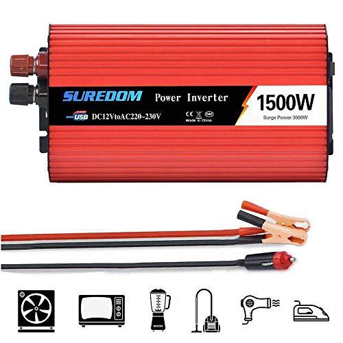 FCX-SHEARS 1500W/3000W Onda Sinusoidal Pura Inversor de Corriente Power Inverter DC 12V 24V A AC 110V 220V, Transformador de Voltaje para Coche con Puerto USB y Pinzas de Conexión a Batería,24Vto110V