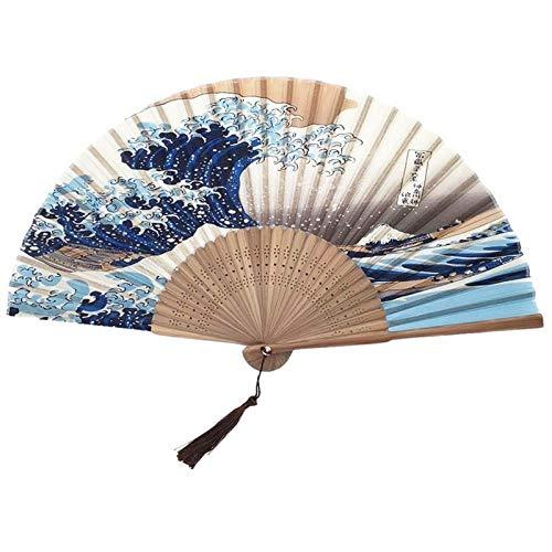 Bleyoum Abanico Plegable Abanico De Mano De Seda Mount Fuji Kanagawa Waves Abanico Plegable Japonés Abanico De Bolsillo Decoración De Fiesta De Boda Regalos