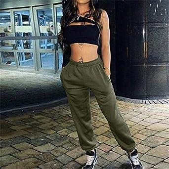 Pantalones de Ch/ándal para Mujer Chica Pantalones Hip Hop Holgados para Jogging Deportes Gimnasia Gimnasio Danza con El/ástico Moda Casual