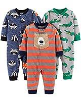 Simple Joys by Carter's Boys' 3-Pack Loose Fit Flame Resistant Fleece Footless Pajamas, Bear/Alligator/Fox/Racoon, 18 Months