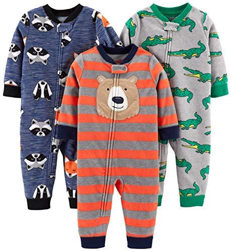 Simple Joys by Carter's 3-Pack Loose Fit Flame Resistant Fleece Footless Pajamas Sleepers, Bear/Alligator/Fox/Racoon, 3T