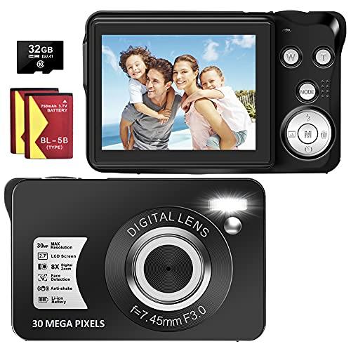 Digital Camera, 30MP 1080P Blogging Camera with SD Card, 2.7' TFT Screen Slim Pocket Camera 8X Digital Zoom Portable Point and Shoot Camera for Teens