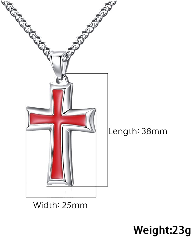 20-24 Inches Curb Chain Reve Stainless Steel Black /& Silver Cross Pendant Necklace for Men Women
