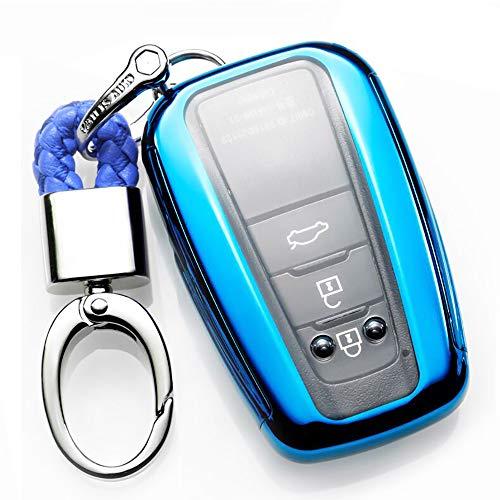 ontto autosleutelhoes voor camry, premium zachte siliconen 360 graden volledige bescherming sleutelhanger hoesje geschikt voor Toyota Camry 3 4 knop sleutelloze afstandsbediening Smart Key Skin jas metal buckle A Blauw