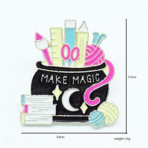 Broschen,Emaille Pin magisches Glas Bleistift Buch Lineal Brosche Abzeichen Pins magische Kinder Geschenke Schmuck-schwarz 1PCS