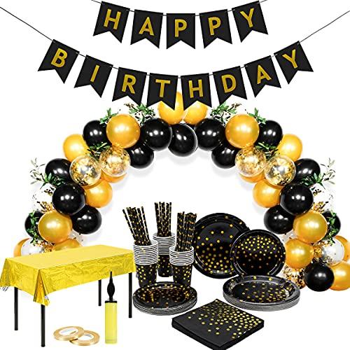 Happy Moment decoration Décorations Anniversaire,Vaisselle Jetable Anniversaire Noire Or, 30 invités Assiettes Anniversaire Noires Gobelets Pailles, Ballon Noir Confettis Or