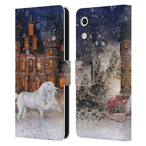 Head Hülle Designs Offizielle Simone Gatterwe Weihnachtszeit Pferde Leder Brieftaschen Huelle kompatibel mit Huawei Honor Play 8A