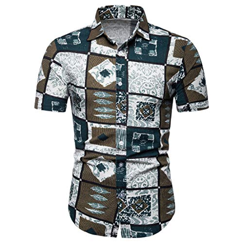 Gusspower Camiseta Casual Hombres Originales Estampada De Manga Corta Camisas de Hombre Impresión Hawaiana Verano Camisa Hombre Regular Fit Camisa Clásico Básico Botones para Hombre S-4XL