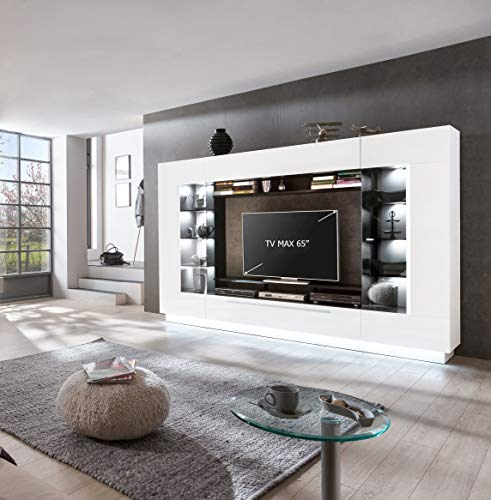 Homeface Wohnkombination 4-teilig SENSIS VA-02 Front: MDF/Farbe: Front: Hochglanz Weiß/Korpus: Weiß/Schwarz - Mit LED Beleuchtung - Ohne Dekoration