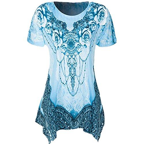 VEMOW Sommer Mode Elegante Damen Frauen Oansatz Plissee Plus Größe Kurzarm Casual Daily Dance Party Bluse Top Tunika Shirt T-Shirts Pulli Tees(Blau, 50 DE / 4XL CN)