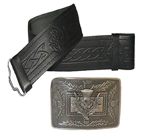 Maze Cinturón de piel con relieve y hebilla de cardo antigu