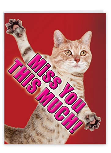 Miss You This Much Cat - Cute Animal Miss You Card with Envelope (XL 8.5 x 11 Inch) - Cute Pet Kitten Hug, Animal Thinking of You Card for Kids, Friends - Big Greeting Notecard J2580MYG