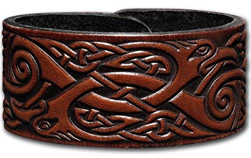 Hoppe & Masztalerz Lederarmband geprägt 32MM aus Vollrindleder Keltische Kraniche (9) braun-antik mit Druckknopfverschluss (nickelfrei) (18 Zentimeter)