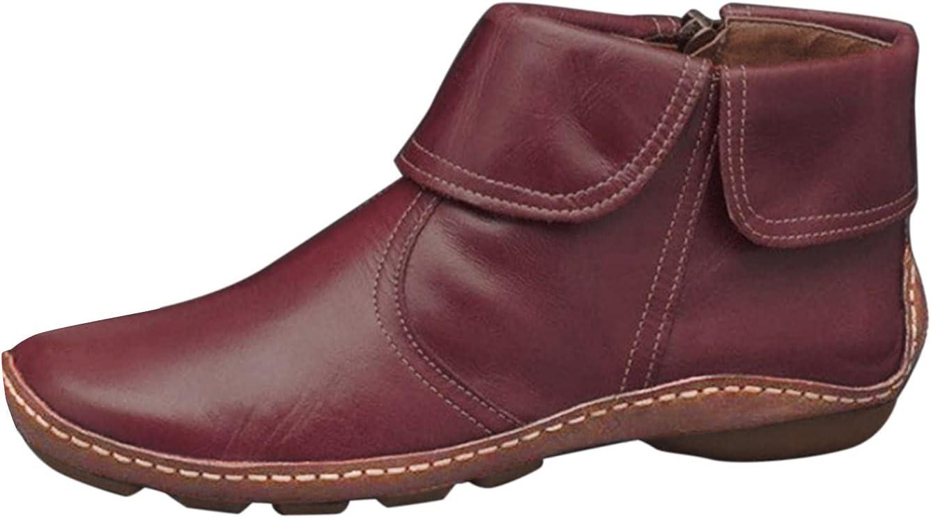 NOLDARES Boots for Women Winter Warm Retro Flat Short Booties Ankle Boots Zipper Round Toe Comfort Roman Snow Boots