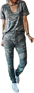 FSSE Womens Casual Short Sleeve Camouflage 2 Pcs Set T-Shirt & Pants Tracksuits Outfit