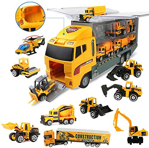 Coolplay 11 in 1 Construction Cars and Trucks Toy for Boys Yellow Truck Carrier Toy Set Little Die-cast Vehicles Mini Excavator Backhoe Mixer Dump Truck Cars for Kids Ages 3-8