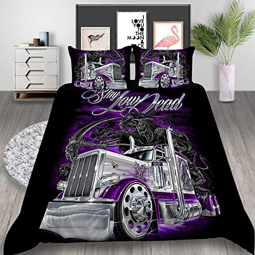 Fadaseo King Duvet Cover Sets 240 X 220 Cm 3D Printing Cartoon Skull Halloween Car 3 Pieces Bedding Set. Easy Care And Super Soft Cotton Design.With 2 Pillowcases Hypoallergenic