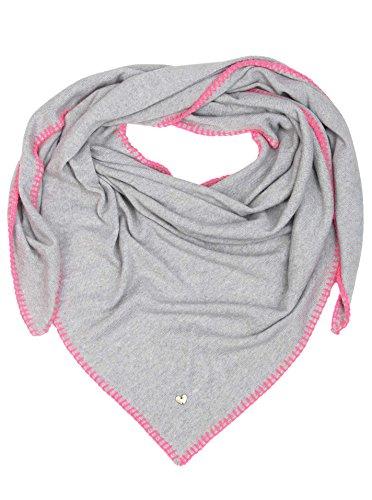 Zwillingsherz Dreieckstuch mit Kaschmir - Hochwertiger Schal mit Häkelrand für Damen Jungen Mädchen - XXL Hals-Tuch und Damenschal - Strick-Waren für Sommer Herbst Winter 150cm x 120cm - hgr