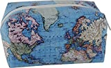 CasaJame Bagages Accessoires Voyage Trousse de Toilette Femme Sac de Voyage Motif Carte du Monde 21,5 x 10 x 11,5 cm