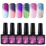 Joligel UV LED Esmalte Uñas Gel Kit, 6pcs Esmaltes Semipermanentes Camaleón Cambio de Color con Temperatura Soak Off 10ML Laca Shellac Manicura Pedicura