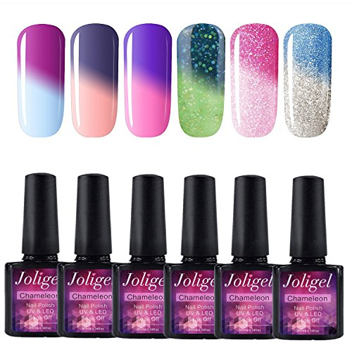 Joligel UV LED Esmalte Uñas Gel Kit, 6pcs Esmaltes Semipermanentes Camaleón Cambio de Color con Temperatura Soak Off 10ML Laca Shellac Manicura Pedicura