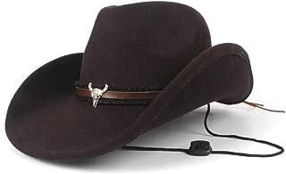 AU-KANGSHUAI Men Women Winter Casual Wild Hat Fashion Wool Western Cowboy Hat With Cow Head Band Church Hat