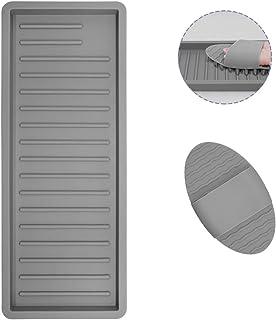 AIFUDA Plateau de rangement de cuisine avec 1 brosse en silicone, support de rangement en silicone pour repose-cuillère, s...