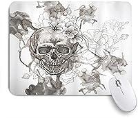 KAPANOU マウスパッド、死者の日頭蓋骨の花の絵 おしゃれ 耐久性が良い 滑り止めゴム底 ゲーミングなど適用 マウス 用ノートブックコンピュータマウスマット