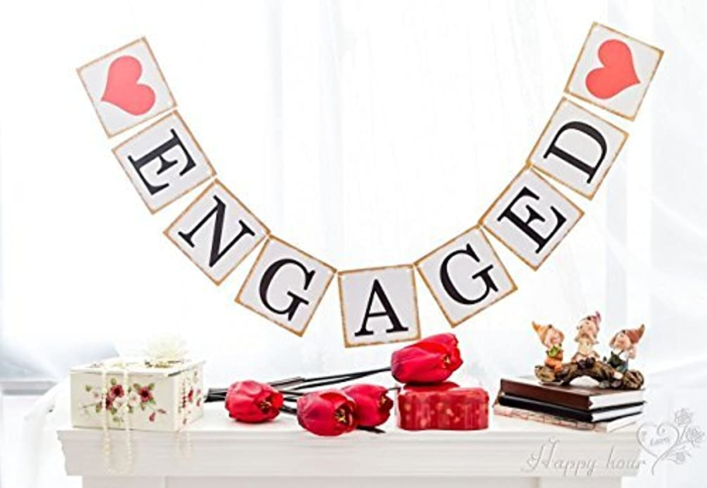 ENGAGED Banner With Gold Border Bunting Garland Engagement Party Decoration
