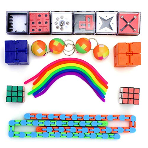 Suppemie 22 Piezas Juguetes Sensoriales, Kit De Juguetes Antiestrés, Sensory Fidget Toys Set De Juguetes Sensoriales Set De Juguetes Sensoriales para TDAH, Autismo Niños Adultos