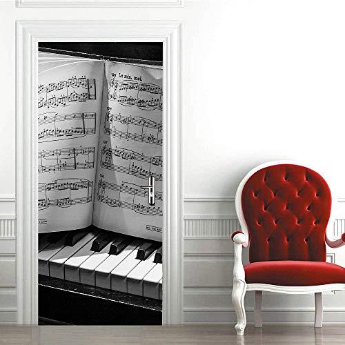 Deur Sticker Creatieve 3D Piano Note Deur Sticker DIY Mural Zelfklevende Behang Verwijderbare Waterdichte Poster Sticker Home Decor Stickers