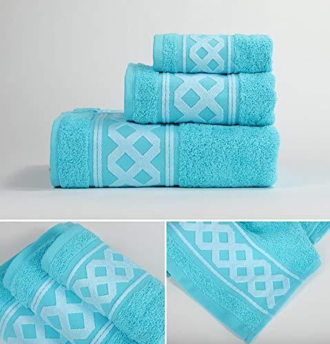 Energy Colors Textil - Hogar - Cenefa Siria - Juego de Toalla 3 Piezas 100% Algodón de 500 Gramos Ducha Lavabo y Vidé (Turquesa)