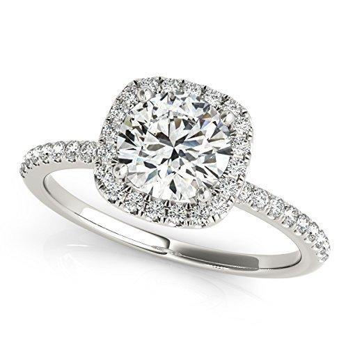 Amazon Com Diamond Halo Engagement Ring Halo Diamond Engagement Ring In Gold Round Diamond Halo Engagement Ring Women S Diamond Engagement Ring Simple Diamond Engagement Ring Handmade