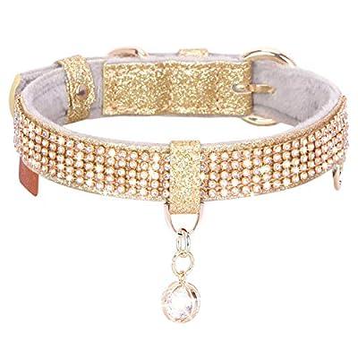 PetsHome Cat Collar, Dog Collar, [Bling Rhinestones] Premium PU Leather with Pendant Adjustable Collars for Small to Medium Dog Medium Gold
