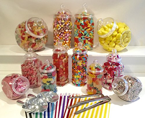 Kit para fiestas tamaño grande con 12 frascos surtidos, dos palas, dos pinzas, 100 bolsas, de estilo victoriano vintage, para candy bar