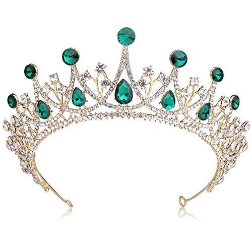 Coucoland Braut Tiara Hochzeit Krone Prinzessin Königin Diadem Kristall Geburtstag Krone Damen Kostüm Accessoires (Gold Grün)