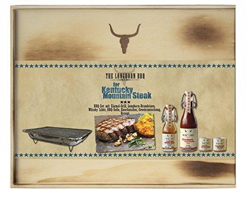 Feuer & Glas - The Longhorn BBQ Kit - Kentucky Mountain Steak, mit Brandeisen (200ml BBQ Saucen und 100ml Whisky Likör und 150g Gewüzmischung)