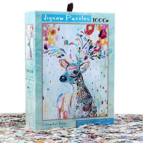 Ingooood- Jigsaw Puzzle- Fantasy Series- Flower Raindrop Colorful Deer - 1000 Piezas para Adultos