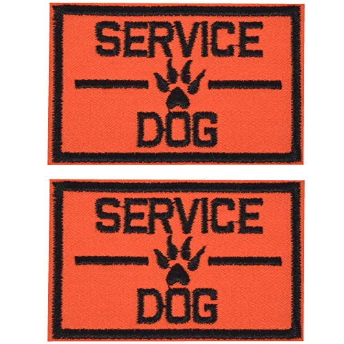 Dog Patches 2 Pack Service Dog in Training, Hook Patches for Service Dog Vest and Harness, Orange