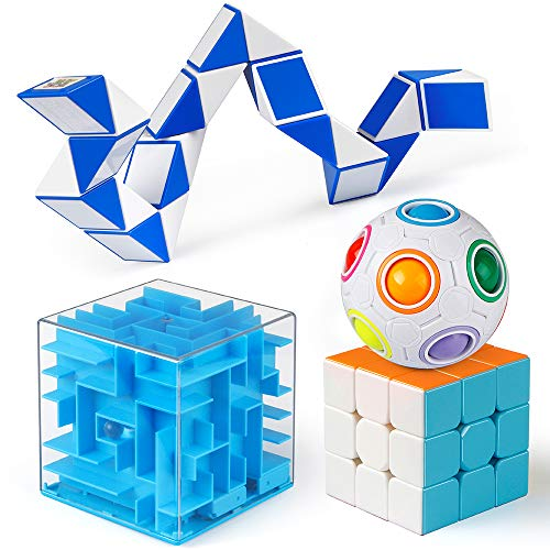 Coogam 4 PCS Brain Teaser Puzzle Toys, 3x3 Speed Cube, Rainbow Puzzle Ball, Money Maze Box, Fidget Snake Cube IQ Games Christmas Party Favor Gift for Kids and Adults, Boy, Girl