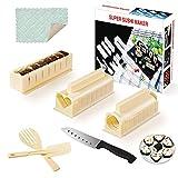 SKYSER 12 Piezas Kit para Hacer Sushi, 8 Formas Únicas Kit Sushi Plástico Sushi Molde de Rollo de Arroz, Set de Sushi Hogar Sushi Maker Kit con Cuchillo de Sushi(Beige)